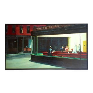 "Edward Hopper Vintage 1980's Iconic Lithograph Print Framed Poster "" Nighthawks "" 1942 For Sale"