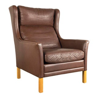 Børge Mogensen Style Danish Leather Wingback Lounge Chair For Sale