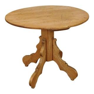 Antique French Rustic & Primitive Pine Round Pedestal Pub Table C1890 For Sale