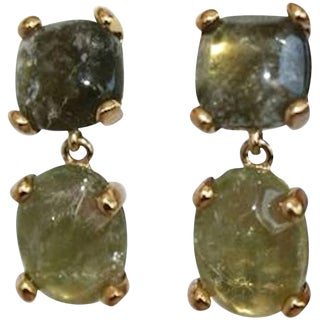 Goossens Paris Green Tinted Rock Crystal Clip Earrings For Sale