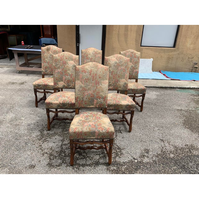1900s Vintage French Louis XIII Style Os De Mouton Dining Chairs - Set of 6 For Sale - Image 12 of 12