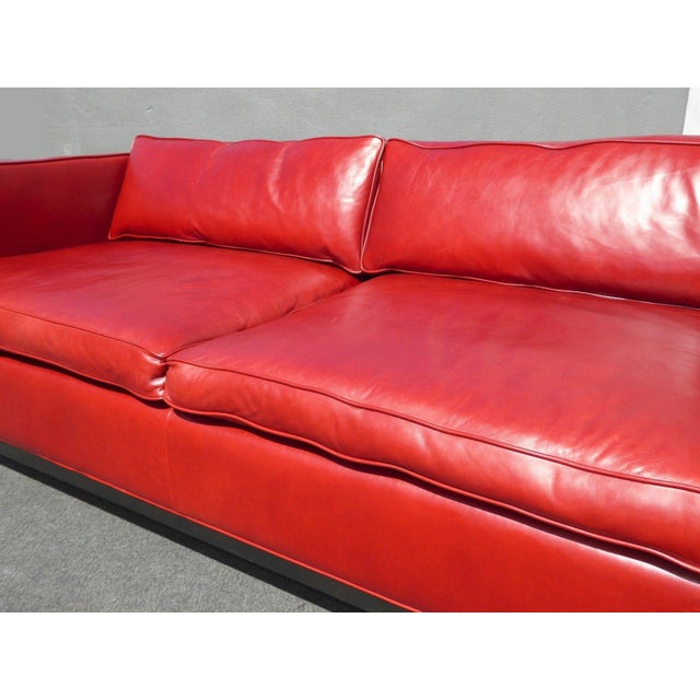 Designer Contemporary Red Leather Sofa - Image 9 of 11