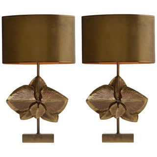 Pair of Signed Maison Charles Bronze Lamps For Sale