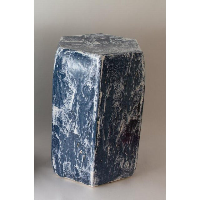 Contemporary Paul Schneider Ceramic Hexagonal Stool in Drip Brushed Navy Glaze For Sale - Image 3 of 4