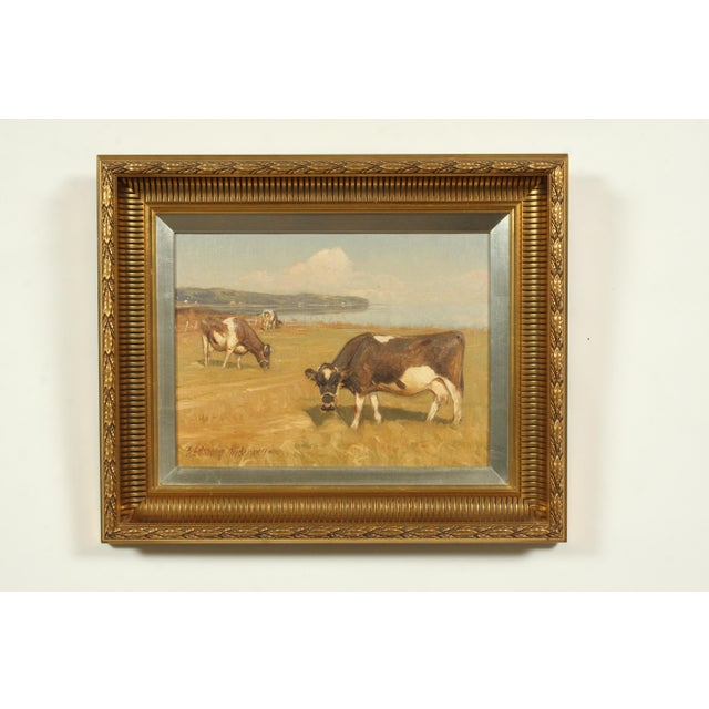 Late 20th-Century Realist Oil Painting of Cows Grazing in a Field by S?ren Edsberg Andersen For Sale In Nashville - Image 6 of 6