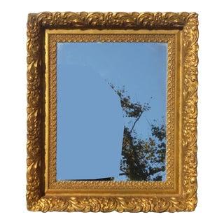 Vintage Antique Wall Mantle Mirror Decorative Gold Gilt Ornate Square Frame For Sale