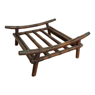 Early 20th Century Vintage Bamboo Rattan and Brass Lounger Ottoman Frame For Sale
