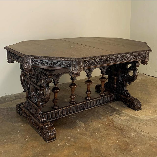 French 19th Century French Renaissance Octagonal Library Table For Sale - Image 3 of 13