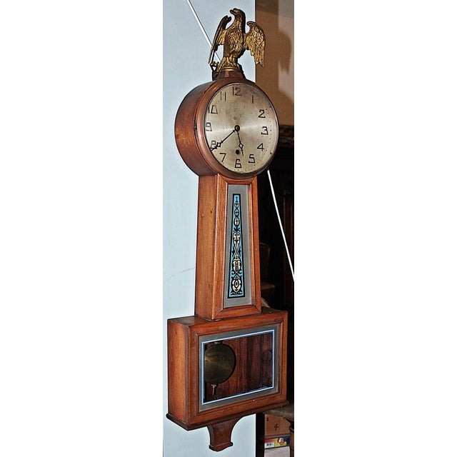 """New Haven Banjo timepiece, """"1-holer"""" (no chime) from 1900 to1920 era. Runs like a clock, 7-8 day movement, convex face..."""