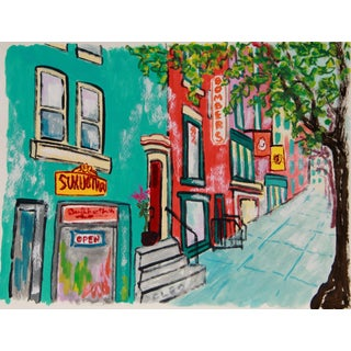 New York Cityscape Brownstone Buildings by Cleo For Sale
