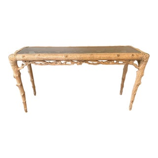 Faux Bois Carved Wood Console With Glass Insert For Sale