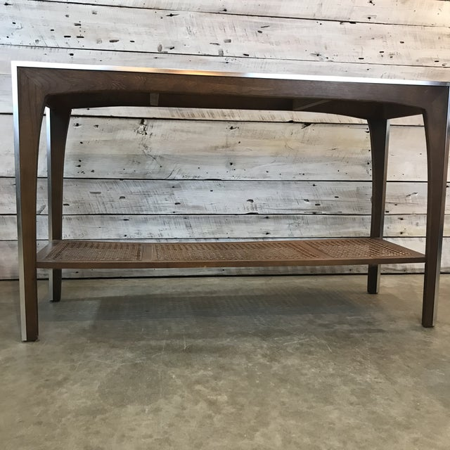 Mid-Century Walnut and Chrome Console Sofa Table For Sale - Image 10 of 11