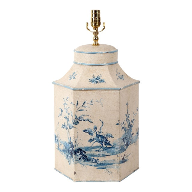 Vintage Hand-Painted British Export Tea Caddy Table Lamp For Sale