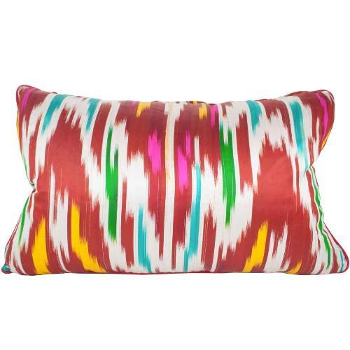 Boho Chic Ikat Silk Pillow Made of Collected Uzbekistan Ikat For Sale - Image 3 of 4
