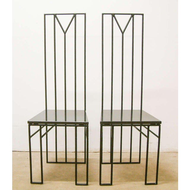 "1988, Maurice Beane Contemporary ""Retromac"" Chair Variation, Black, Granite & Polychromed Steel - A Pair United States..."