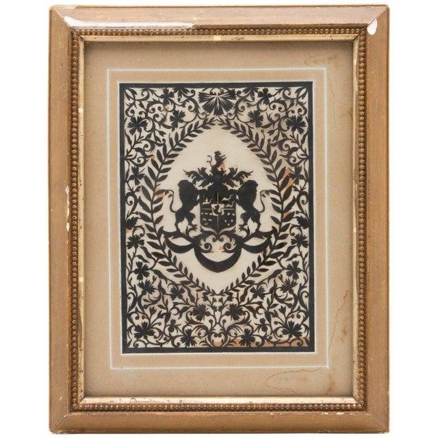 Paper Framed Handcut Heraldic Shield Design For Sale - Image 7 of 7