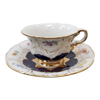 1934-1944 German Meissen Porcelain B-Form Gilded Blue Strewn Flowers Espresso Cup and Saucer - 2 Pieces For Sale