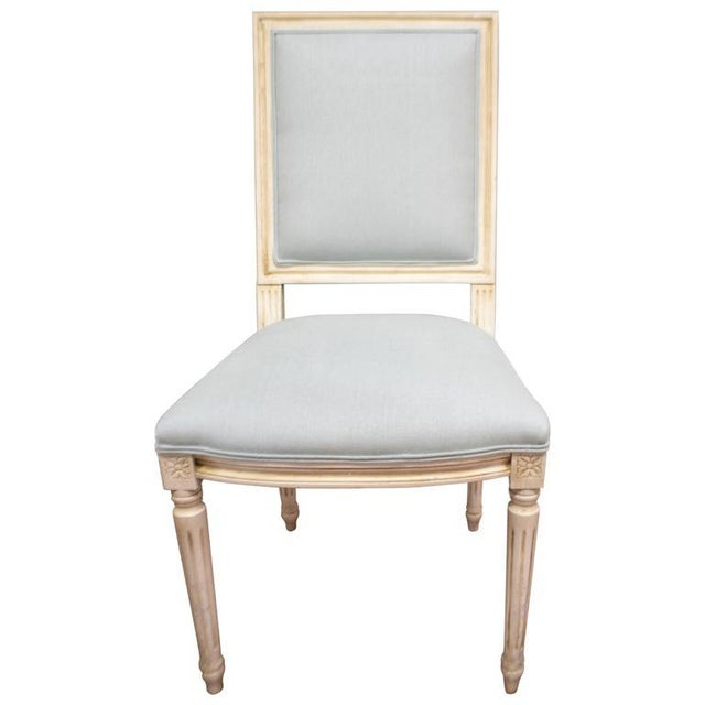 Turquoise Louis XVI Style Square Back Dining Chairs Available for Custom Order For Sale - Image 8 of 8