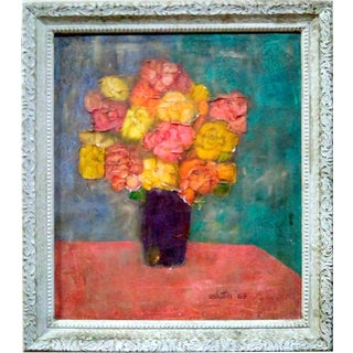 1969 Floral Still Life Oil Painting For Sale