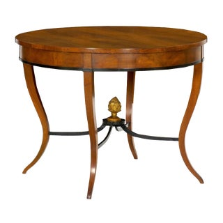 Austrian Biedermeier Fruitwood Antique Round Center Hall Table, 19th Century For Sale
