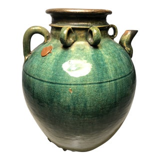 Late 20th Century Asian Green Glaze Jug For Sale