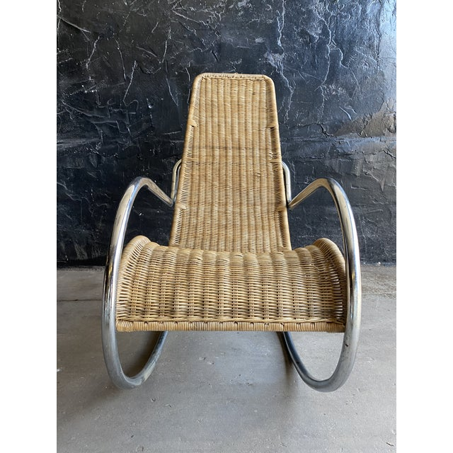 Vintage Woven Chrome & Rattan Italian Rocking Chair For Sale In Philadelphia - Image 6 of 12