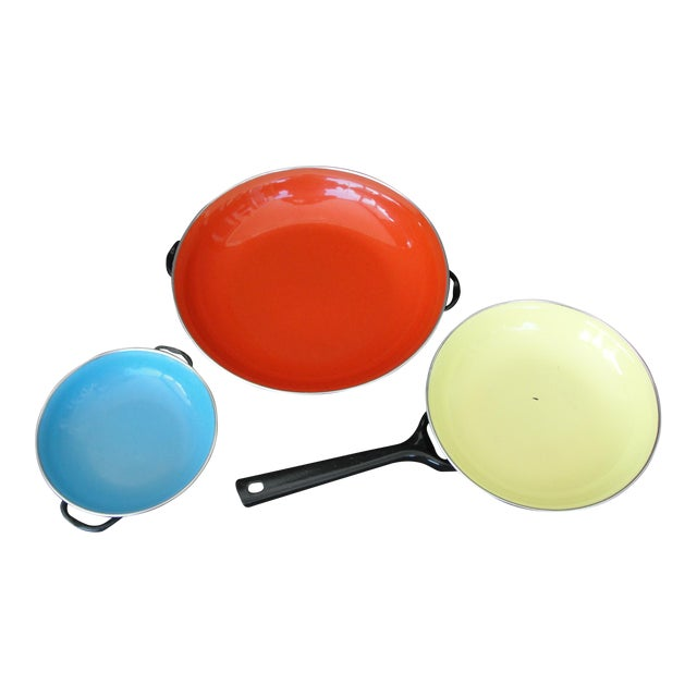 Enameled Steel Saute Pans - Set of 4 For Sale