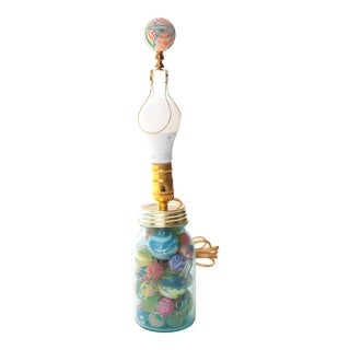 Ball Mason Jar Table Lamp with Bouncy Balls and Matching Finial For Sale
