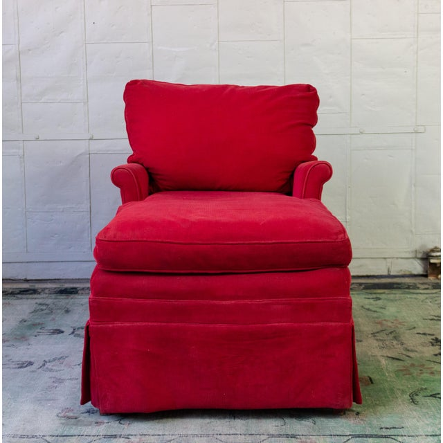 Small-scale American made chaise longue, upholstered in red corduroy.