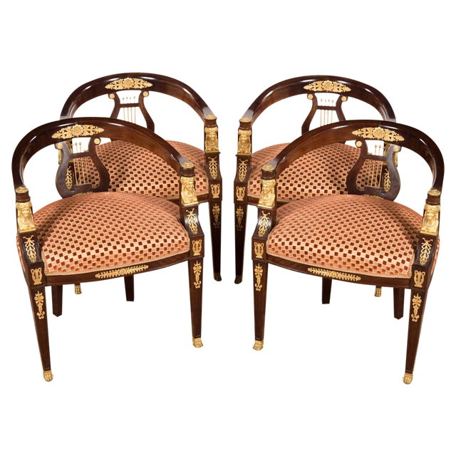 19th C. Bronze Mounted Lyre Back Armchairs - 4 - Image 1 of 10
