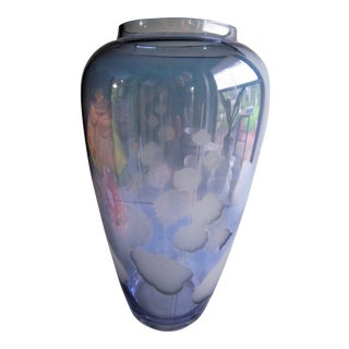 Indigo Blue Blown Etched Glass Vase For Sale