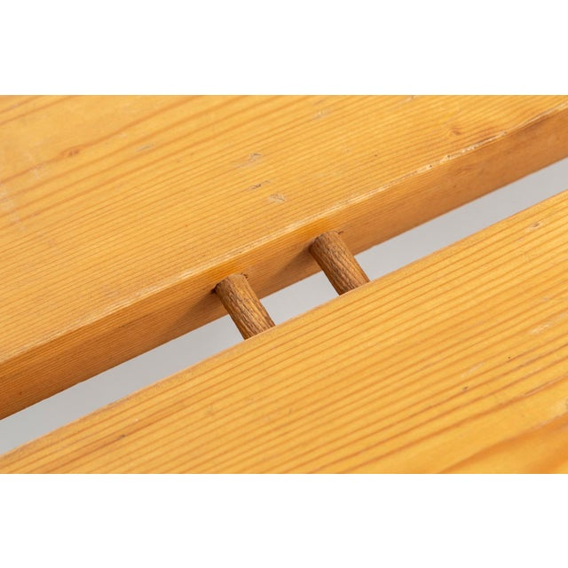 Gold Pair of Les Arcs Pine Benches by Charlotte Perriand For Sale - Image 8 of 13