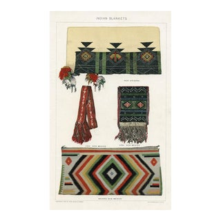 Hopi and Navajo Indian Blankets, 1902 Lithograph For Sale