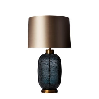 Hand Blown Midnight Blue Glass Table Lamp With Shade For Sale