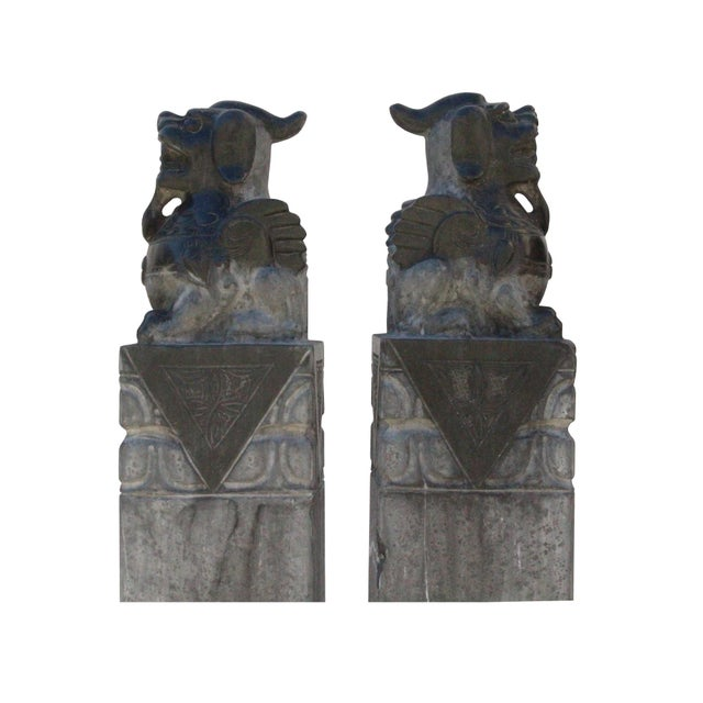 Stone Chinese Pair Gray Black Color Stone Fengshui Pixiu Tall Slim Pole Statue For Sale - Image 7 of 11