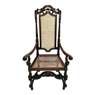 17th Century English William & Mary Oak and Cane Armchair For Sale