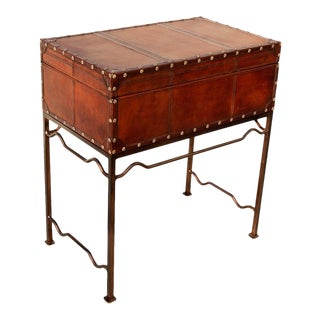 Sarreid Ltd Studded Leather Box on Stand For Sale