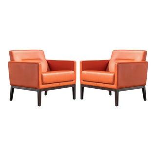 Brayton International Club Chairs in Orange Leather, Pair For Sale