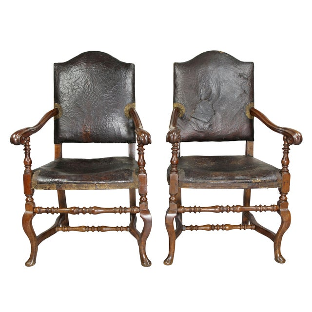 18th Century Italian Baroque Walnut Armchairs - a Pair For Sale - Image 5 of 11