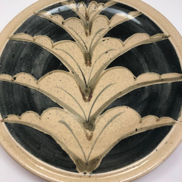 This is a striking, large (and heavy!), beautifully crafted hand-thrown studio pottery platter decorated with a hand-...