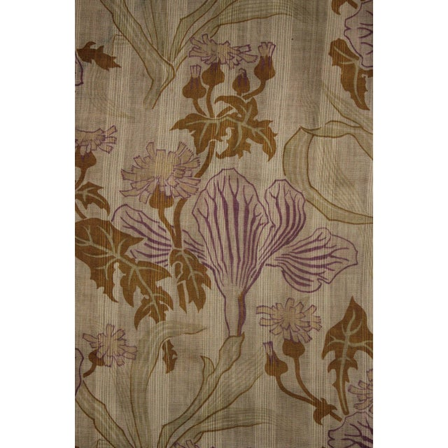 Antique French Fabric Sheer Art Nouveau Light Weight Cotton Roller Print Floral For Sale - Image 9 of 10