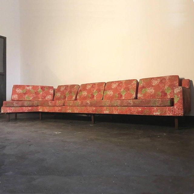 "1950s 1950s Vintage Dd & Leslie Tillett for Harvey Probber Sofa W ""Chrysanthemum"" Fabric For Sale - Image 5 of 7"