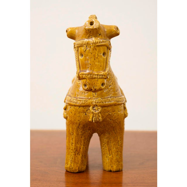 1960s Ceramic Dog and Horse by Aldo Londi in Rare Mustard Glaze for Bitossi, Italy, 1960s For Sale - Image 5 of 13