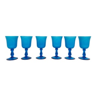 Final Markdown Mid-Century Modern Carlo Moretti Style Cased Glass Goblets - Set of 6 For Sale