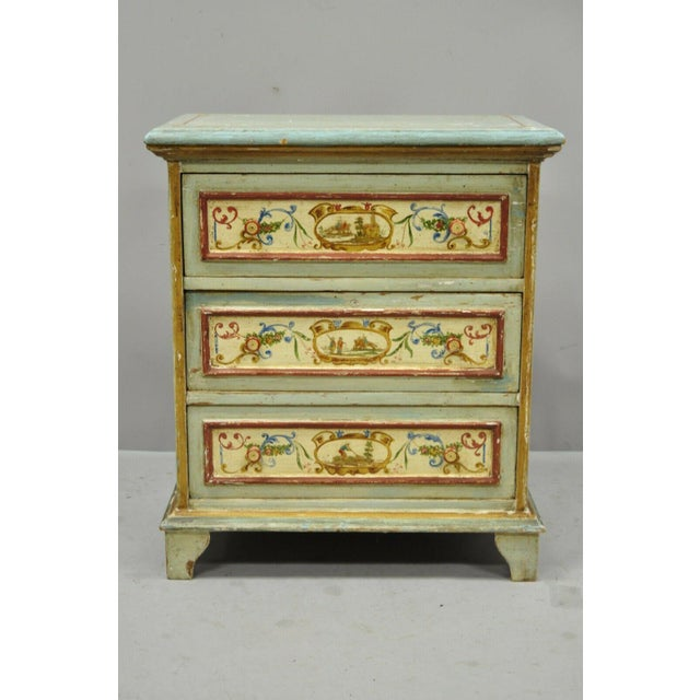 Antique Italian Venetian Blue Painted 3 Drawer Commode Chest of Drawers For Sale - Image 13 of 13