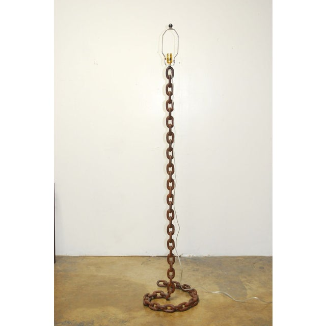 Iron Chain-Link Floor Lamp by Barry Dixon For Sale In San Francisco - Image 6 of 7