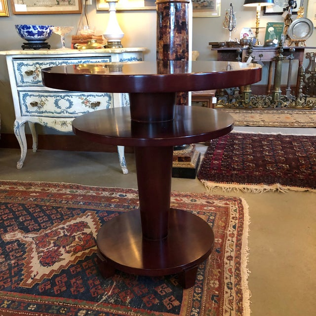 1980s Traditional Swaim Furniture Two-Tiered Round Center Table For Sale - Image 10 of 10