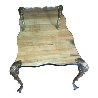 Vintage Art Deco French Glass and Bronze Leg Coffee Table For Sale