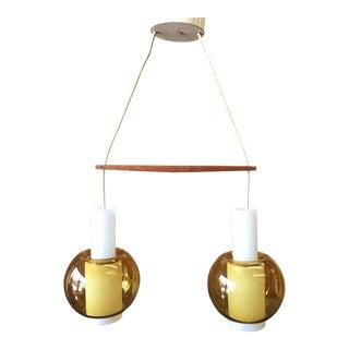 Danish Modern Double Glass Pendant Light by Nordisk Solar For Sale
