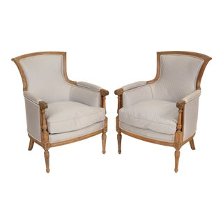 Late 20th Century Louis XVI Style Bergeres- A Pair For Sale